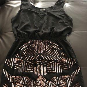 Bebe Rose Gold Beadee Short Dress